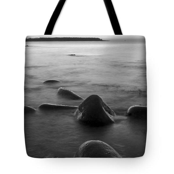 Acadia National Park Shoreline Sunrise Wakeup Black And White Tote Bag