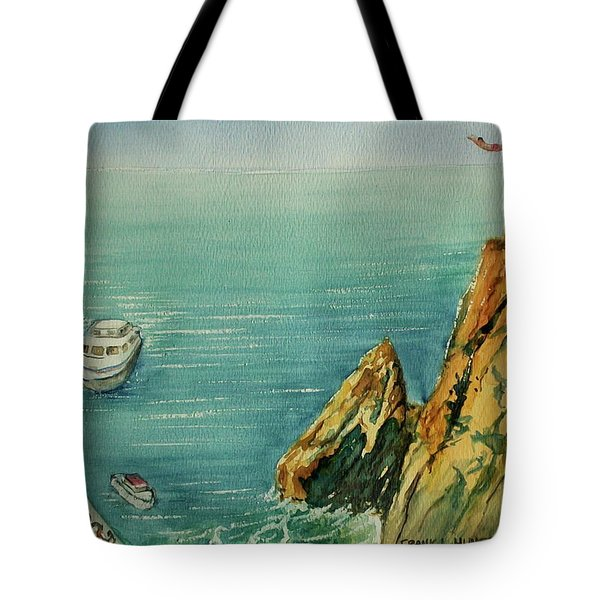 Acapulco Cliff Diver Tote Bag by Frank Hunter