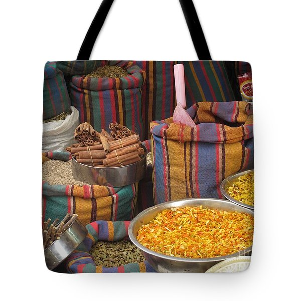 Tote Bag featuring the photograph Acco Acre Israel Shuk Market Spices Stripes Bags by Paul Fearn