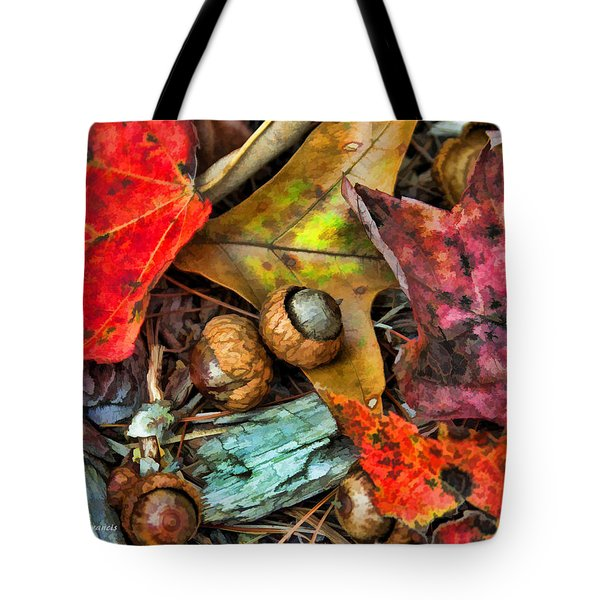 Tote Bag featuring the photograph Acorns And Leaves by Kenny Francis