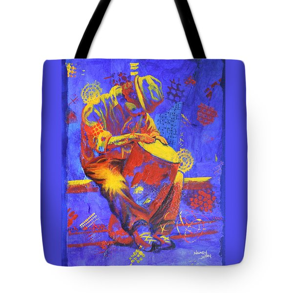 Tote Bag featuring the painting Acoustic Blues by Nancy Jolley