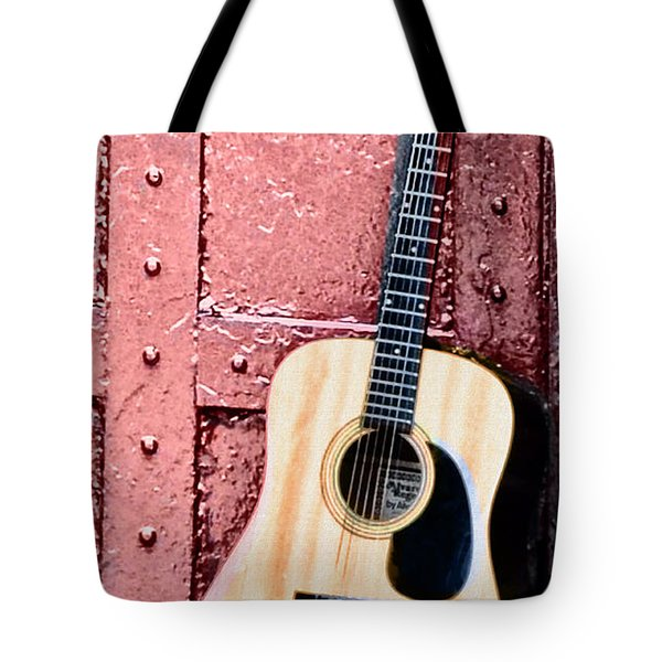 Acoustic Guitar And Red Door Tote Bag by Bill Cannon