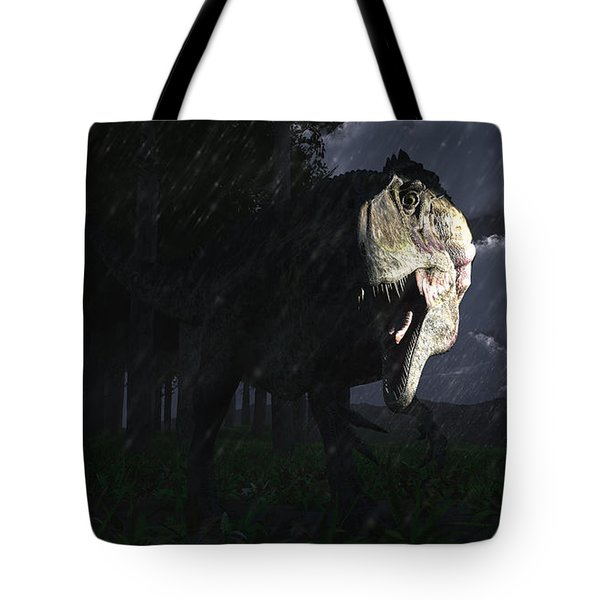 Acrocanthosaurus Dinosaur On A Stormy Tote Bag