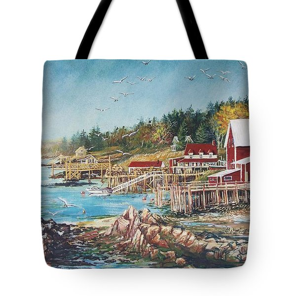 Tote Bag featuring the painting Across The Bridge by Joy Nichols