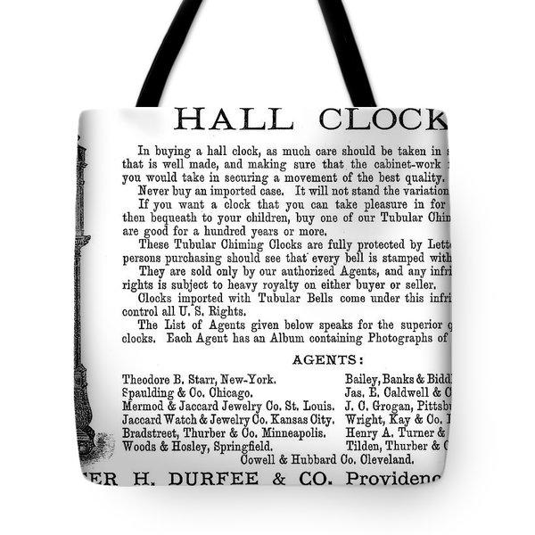 Ad Hall Clock, 1890 Tote Bag