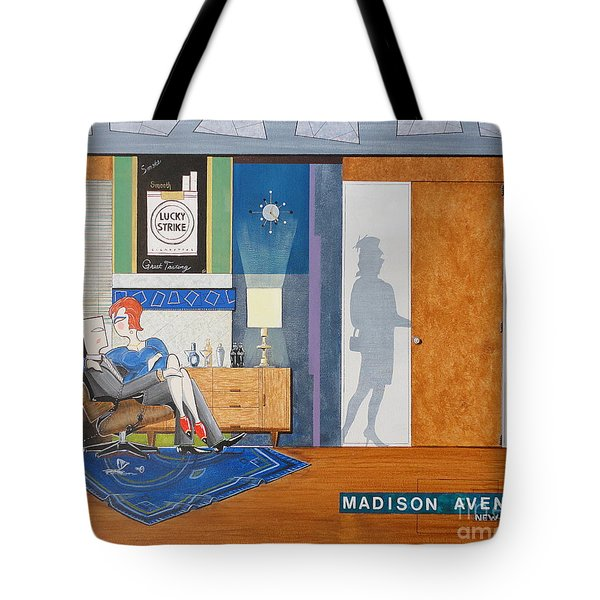 Ad Man Sitting In An Eames With Girl Friday Tote Bag by John Lyes