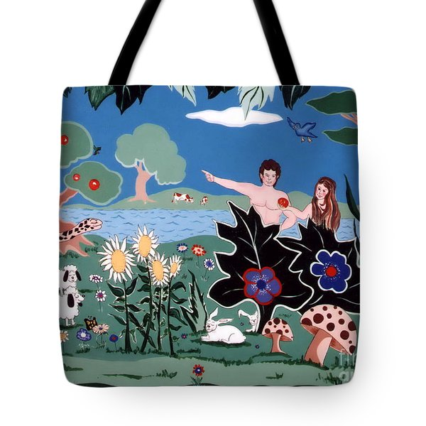 Adam And Eve Tote Bag by Joyce Gebauer