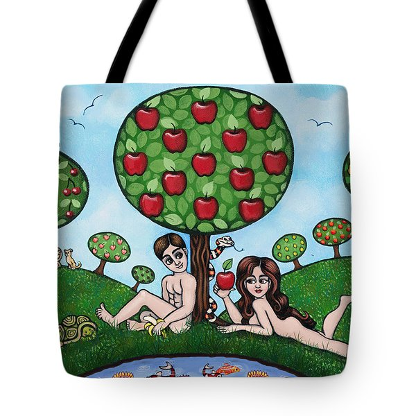 Adam And Eve The Naked Truth Tote Bag by Victoria De Almeida
