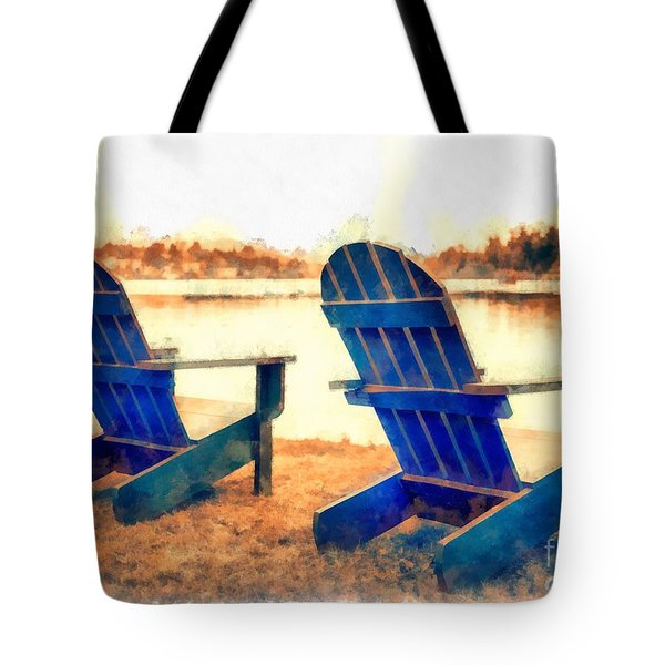 Adirondack Chairs By The Lake Tote Bag