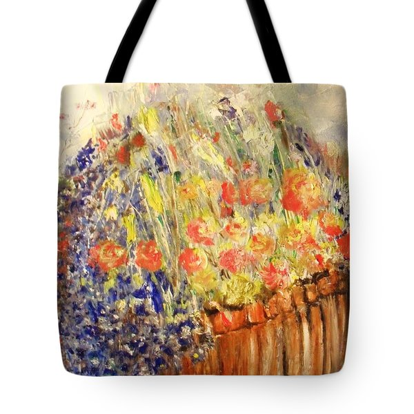 Tote Bag featuring the painting Adirondack Floral by Laurie Lundquist