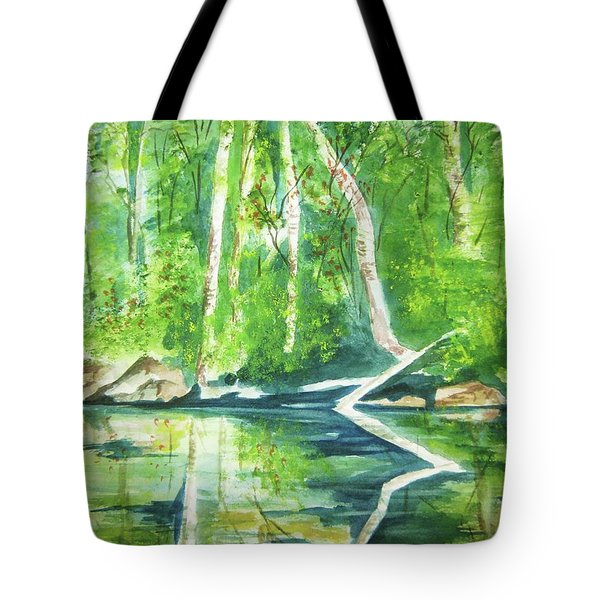 Tote Bag featuring the painting Adirondack Zen by Ellen Levinson