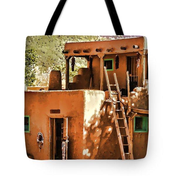 Tote Bag featuring the painting Adobe by Muhie Kanawati