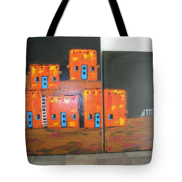 Tote Bag featuring the painting Adobes by Sharyn Winters