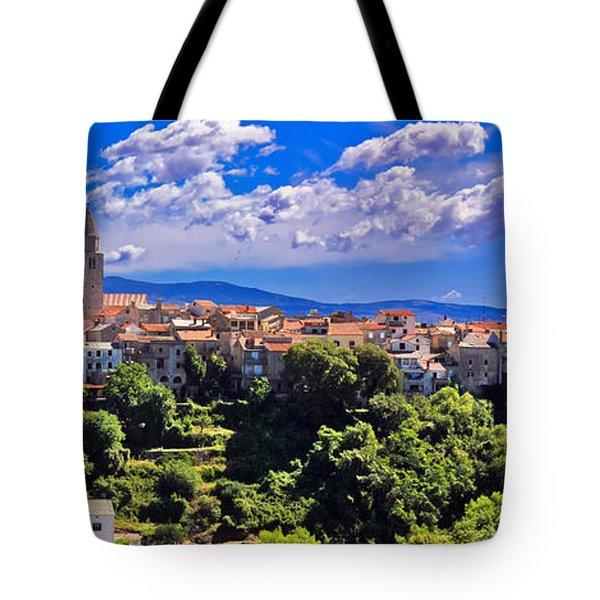 Adriatic Town Of Vrbnik Panoramic View Tote Bag