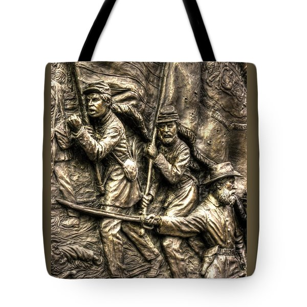 Advancing The Colors - State Of Delaware Monument Gettysburg Detail-a Autumn Mid-day Tote Bag by Michael Mazaika