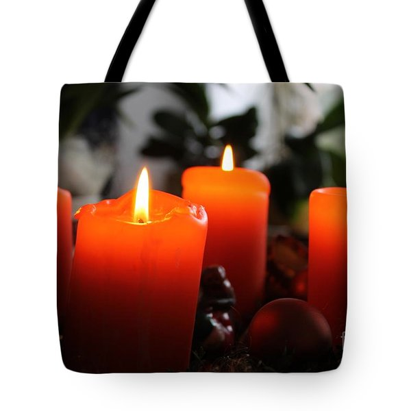 Tote Bag featuring the photograph Advent Candles Christmas Candle Light by Paul Fearn