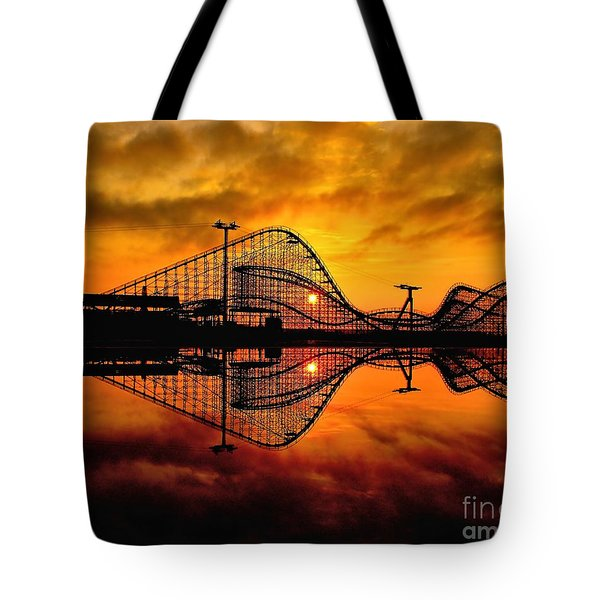 Adventure Pier At Sunrise Tote Bag by Nick Zelinsky