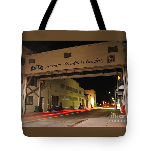 Tote Bag featuring the photograph Aeneas Overpass On Cannery Row by James B Toy