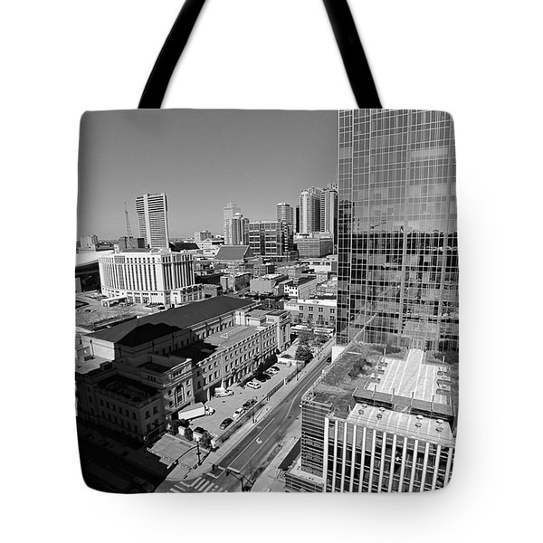 Aerial Photography Downtown Nashville Tote Bag by Dan Sproul
