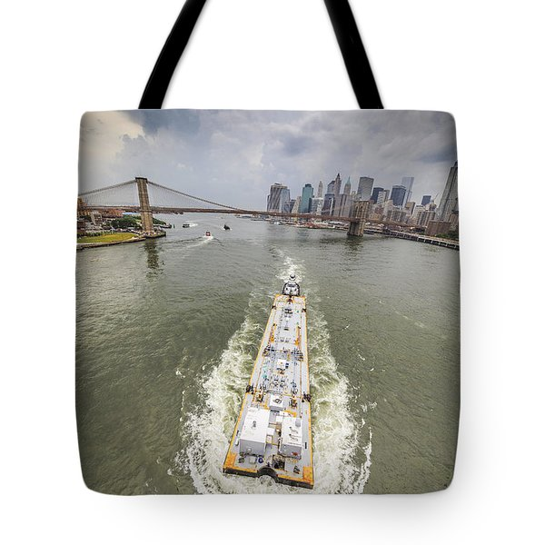 Aerial View - The Barge At The East River Tote Bag