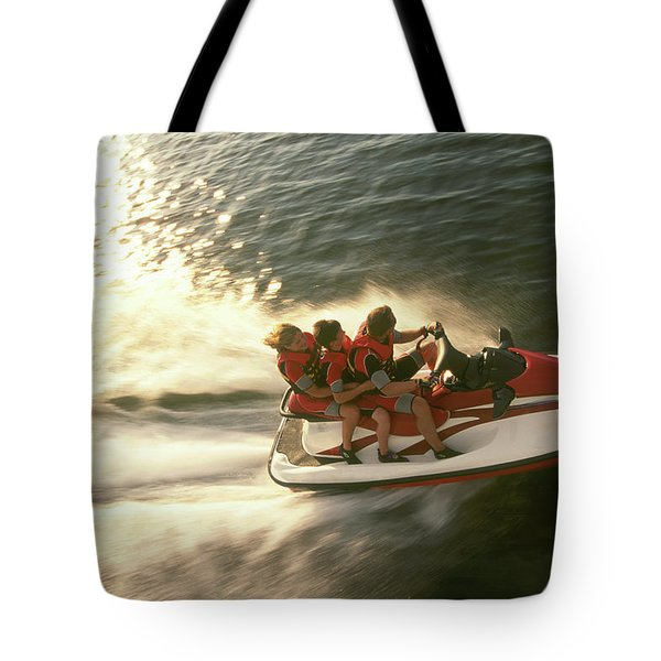 Aerial View A Family Racing Tote Bag