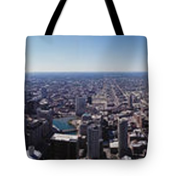 Aerial View Of A City, Chicago River Tote Bag