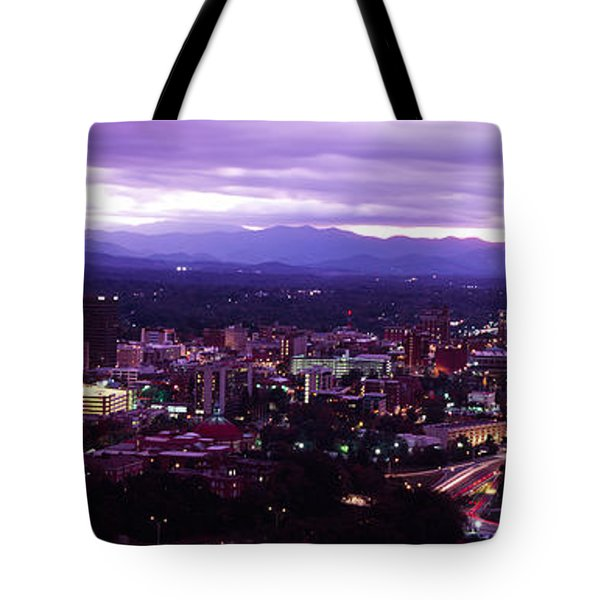 Aerial View Of A City Lit Up At Dusk Tote Bag