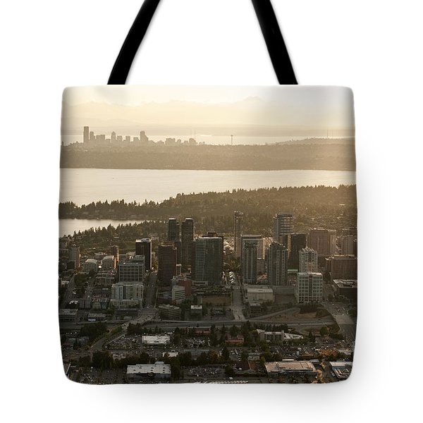 Aerial View Of Bellevue Skyline Tote Bag