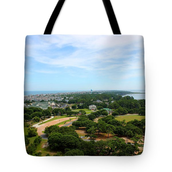 Aerial View Of Corolla North Carolina Outer Banks Obx Tote Bag by Design Turnpike