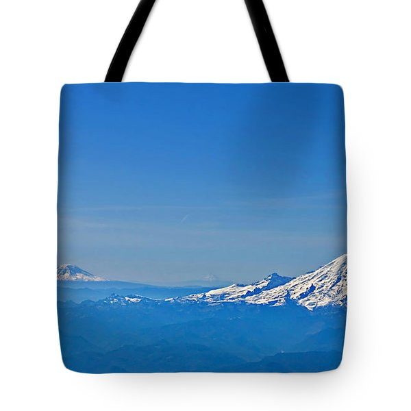 Aerial View Of Mount Rainier Volcano Art Prints Tote Bag