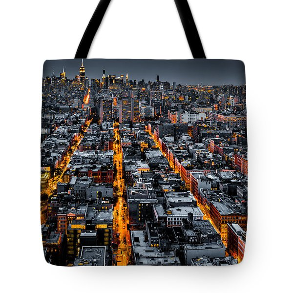 Tote Bag featuring the photograph Aerial View Of New York City At Night by Mihai Andritoiu