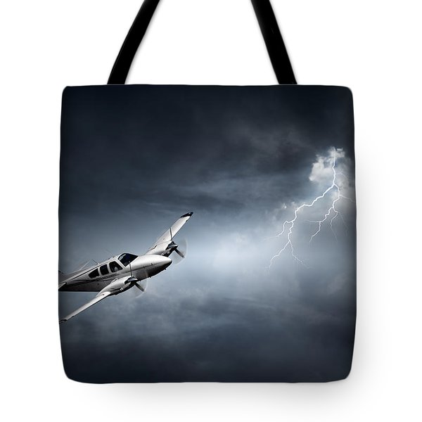 Risk - Aeroplane In Thunderstorm Tote Bag