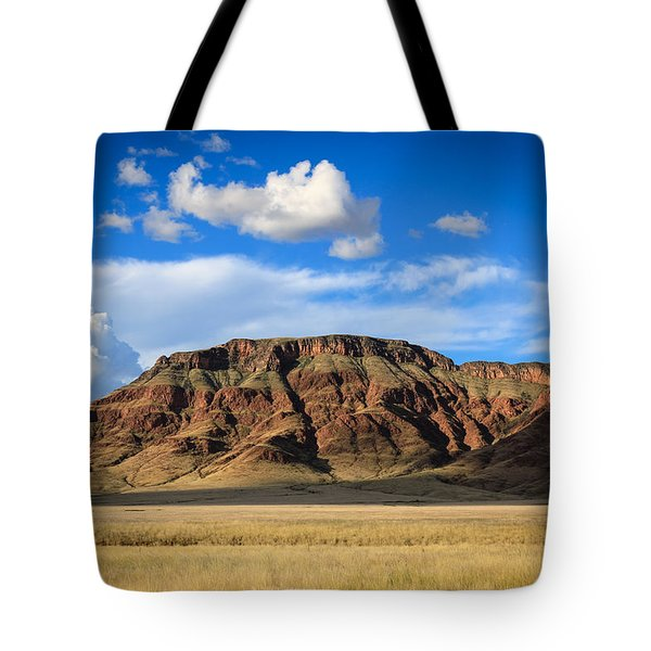 Aferican Grass And Mountain In Sossusvlei Tote Bag
