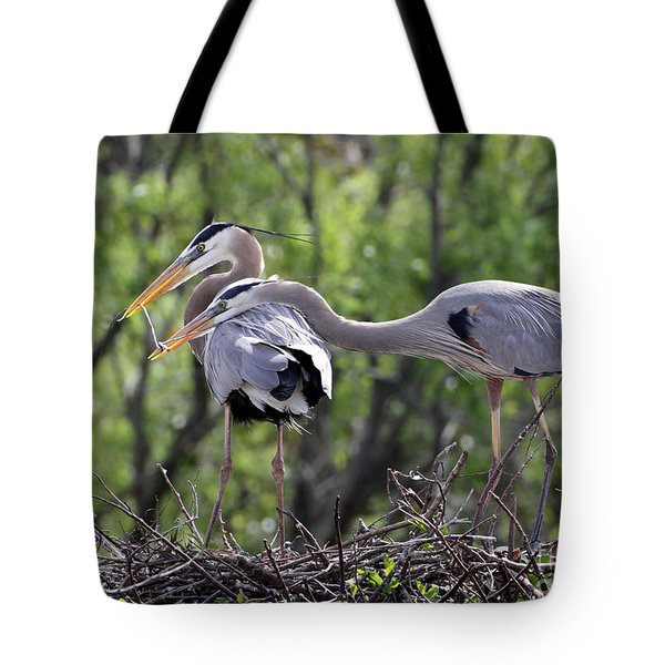 Tote Bag featuring the photograph Affectionate Great Blue Heron Mates by Sabrina L Ryan