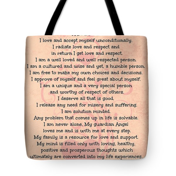 Affirmations Of Love Tote Bag