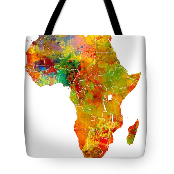 Africa Map Colored Tote Bag by Justyna JBJart