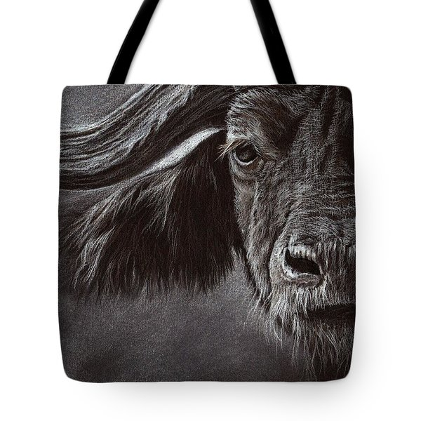 Tote Bag featuring the drawing African Buffalo by Heidi Kriel