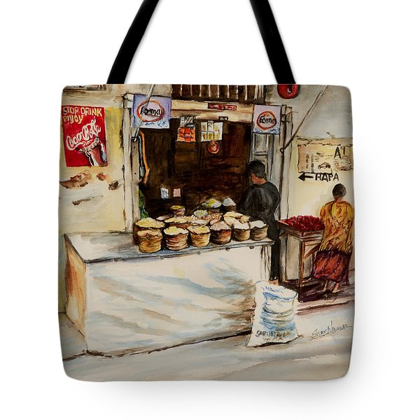 Tote Bag featuring the painting African Corner Store by Sher Nasser