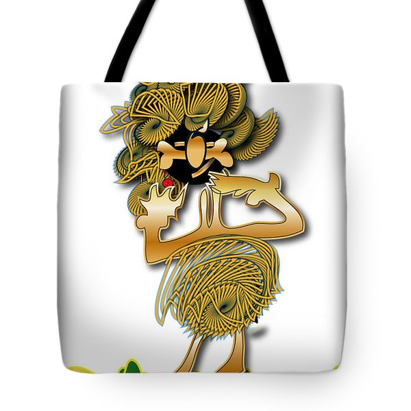 Tote Bag featuring the digital art African Dancer With Bone by Marvin Blaine