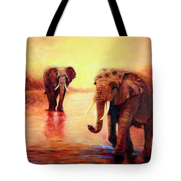 African Elephants At Sunset In The Serengeti Tote Bag