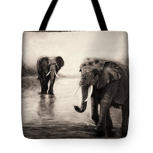 African Elephants At Sunset Tote Bag