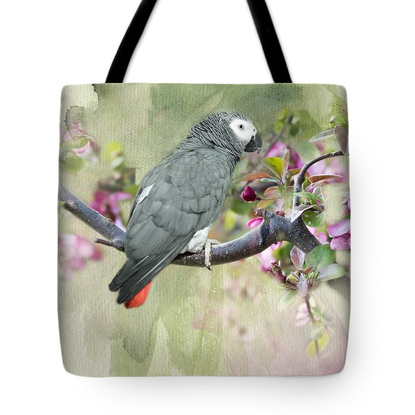 African Gray Among The Blossoms Tote Bag by Betty LaRue