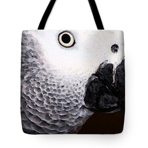 African Gray Parrot Art - Seeing Is Believing Tote Bag by Sharon Cummings
