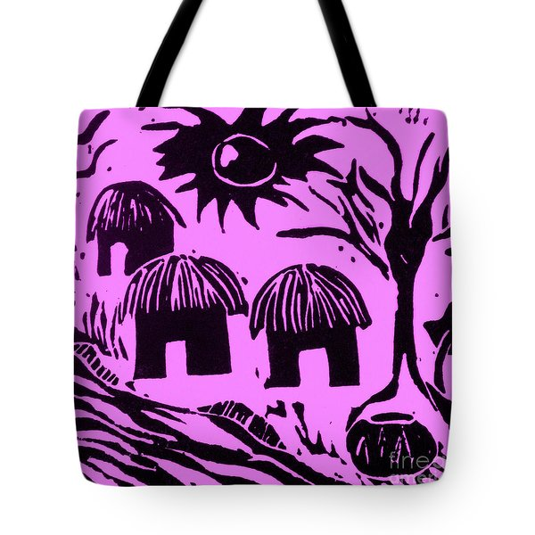 African Huts Pink Tote Bag by Caroline Street