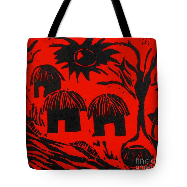 African Huts Red Tote Bag by Caroline Street