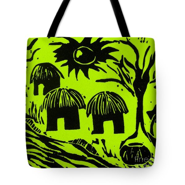 African Huts Yellow Tote Bag by Caroline Street