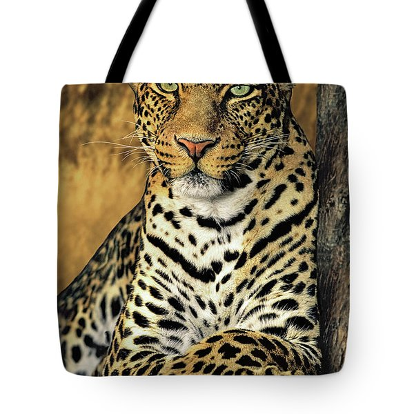 African Leopard Portrait Wildlife Rescue Tote Bag by Dave Welling