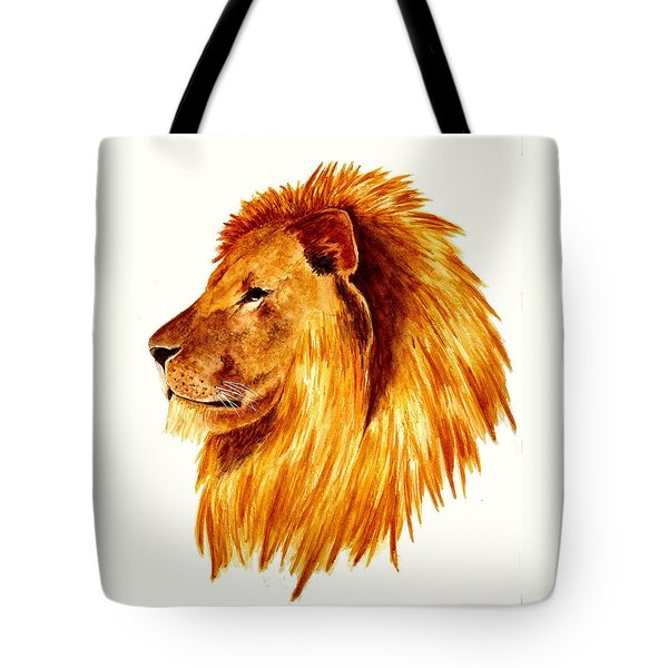 African Male Lion Tote Bag by Michael Vigliotti