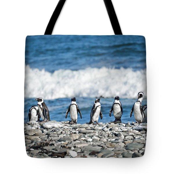 Line Of Penguins Tote Bag