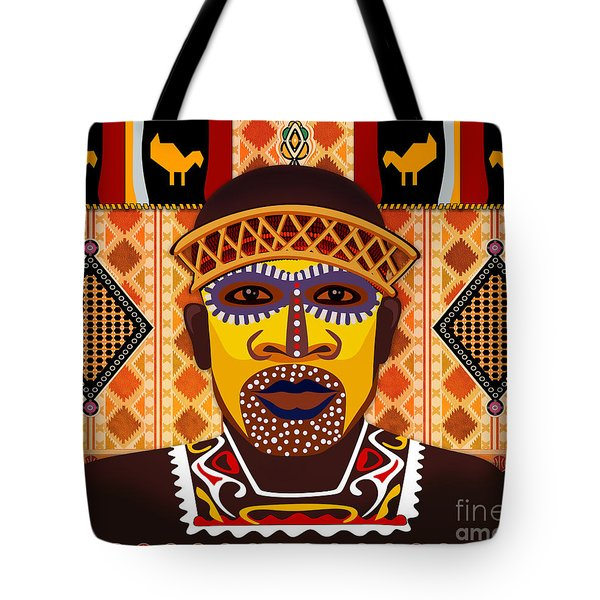 African Tribesman 2 Tote Bag by Peter Awax